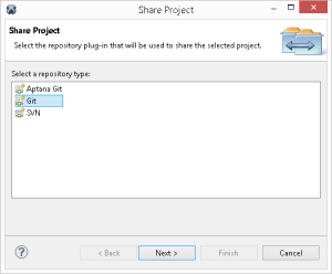 Connessione di EGit ai progetti git precedentemente scollegati da Aptana Git