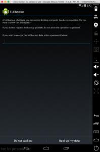 La richiesta di conferma (e password) all'esecuzione del comando di backup