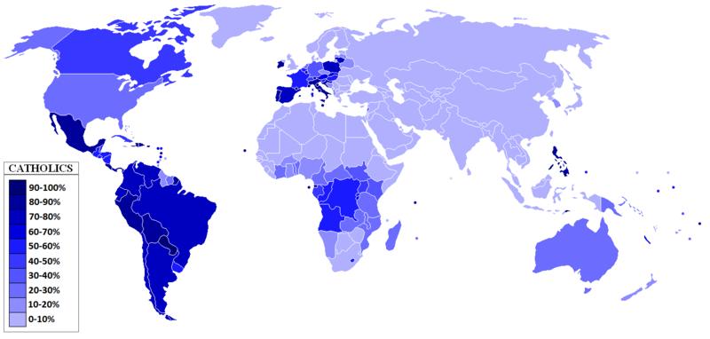 Percentuale di cattolici nella popolazione, 2010