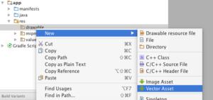 Creazione di asset vettoriale da Android Studio